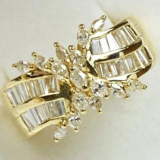 ゴージャス 18K ゴールド 合計 1.00ct ダイヤモンドリング 15号  (リング(指輪))