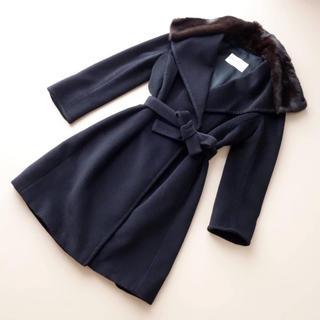 Max Mara - ■マックスマーラ■ 36 ミンク襟 黒 コート カシミヤ混 MAXMARA