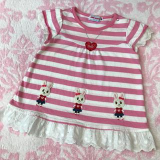 ミキハウス(mikihouse)のミキハウス♡ うさこ ピンク ボーダー 半袖 トップス 80cm 日本製(Tシャツ)