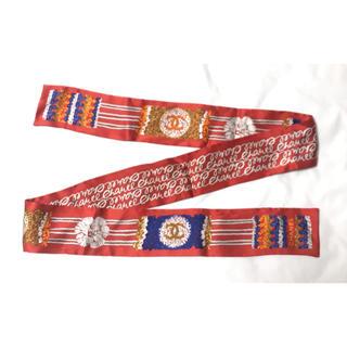 シャネル(CHANEL)のほぼ新品★CHANEL マーク カメリア リボン スカーフ ショール シャネル(バンダナ/スカーフ)