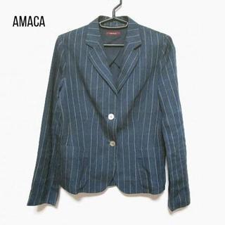 AMACA - アマカ ジャケット サイズ38 M レディース ネイビー×アイボリー