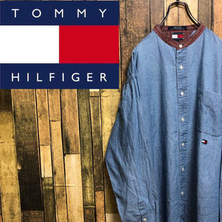 TOMMY HILFIGER - 【激レア】トミーヒルフィガー☆刺繍ロゴチェック切替ノーカラーデニムシャツ 90s
