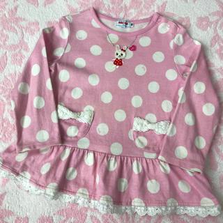 ミキハウス(mikihouse)のミキハウス♡ うさこ ピンク ドット 長袖 Tシャツ 90cm 日本製(Tシャツ/カットソー)