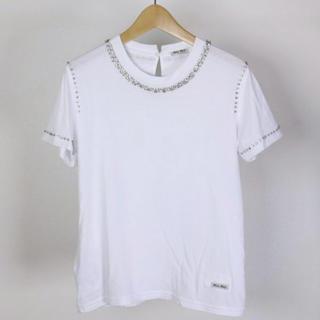 ミュウミュウ(miumiu)のmiumiu   ビジューt-シャツ(Tシャツ(半袖/袖なし))