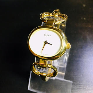 グッチ(Gucci)の【美品 確実正規品】グッチ 腕時計 1600 ゴールド ホワイトシェル 時計(腕時計)