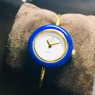 グッチ(Gucci)の【良品 可動品】グッチ 腕時計 チェンジベゼル ゴールド 確実正規品 ブルー(腕時計)