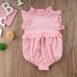 ベビーギャップ(babyGAP)のピンク フリルロンパース 90cm 海外子供服(ロンパース)