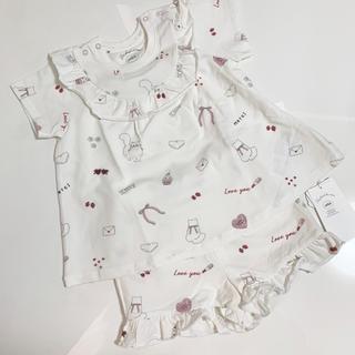 ジェラートピケ(gelato pique)の最新作♡ジェラートピケ ガールズモチーフTシャツ&ショートパンツ80〜90(Tシャツ)
