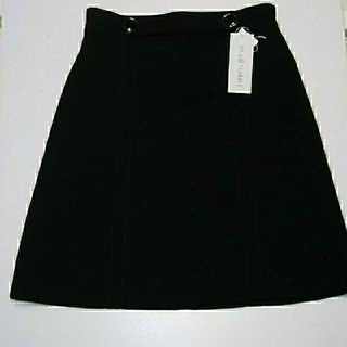 JILLSTUART - ジルスチュアート  ツイルウエストボタン台形スカート 色:黒