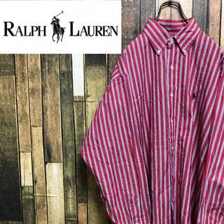 Ralph Lauren - 【激レア】ラルフローレン☆ワンポイント刺繍ロゴストライプシャツ 90s