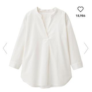GU - リネンブレンドスキッパーシャツ(7分袖) ホワイト S