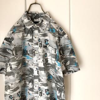 ハーレー(Hurley)のHurley ハーレーアロハシャツ 柄シャツ フラガール ドクロ 古着 総柄(シャツ)