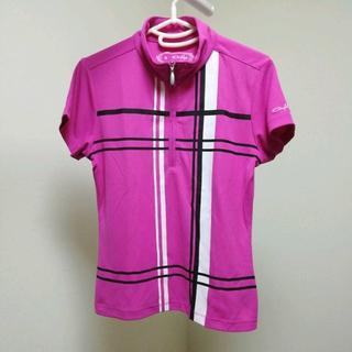 オークリー(Oakley)の◆オークリー 【レディース 半袖 ハーフジップシャツ Mサイズ ピンク】(ウエア)