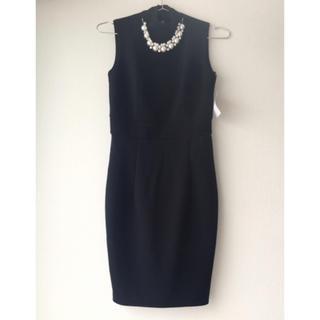 ジュエルズ(JEWELS)のハイネック ドレス ワンピース パール ビジュー 2way オケージョン 黒(ミディアムドレス)