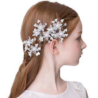 子供ピアノ発表会結婚式フォーマルウエディング髪飾り白小花Uピン3本セット