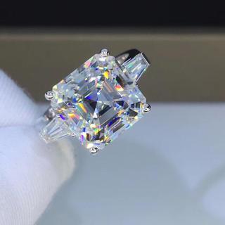 【newデザイン】輝く アッシャーカット モアサナイト  ダイヤモンド リング(リング(指輪))