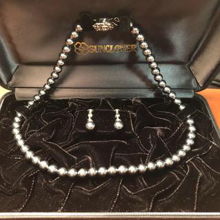 黒真珠 ネックレスとイヤリングセット