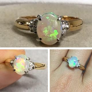 K18 シンプルなオパールとダイヤモンドのリング