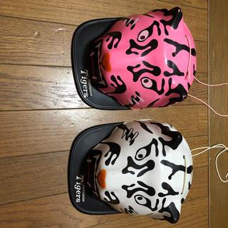ハンシンタイガース(阪神タイガース)の阪神タイガース応援ヘルメット白とピンクのセット(応援グッズ)
