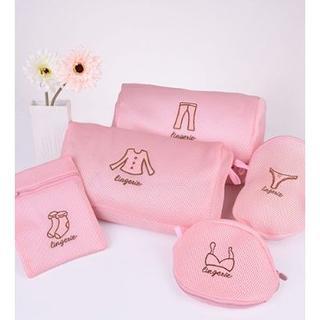 ピンク 洗濯バッグ 洗濯袋 収納用 刺繍デザイン ジャックカバー 5セット