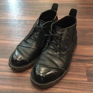 ヨウジヤマモト(Yohji Yamamoto)のヨウジヤマモトプールオム 00AW パッチワークレザーブーツ 黒 ブラック(ドレス/ビジネス)