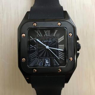 Cartier - メンズ 腕時計 サントス ドゥ カルティエ ブラック ラバーベルト 送料込み