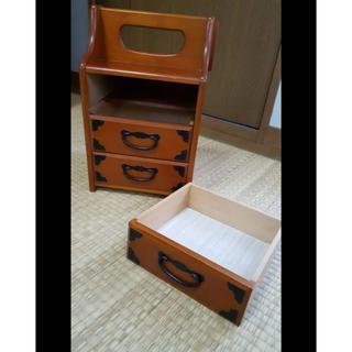 美品 インテリア 収納 ヴィンテージ 和 小物入れ 木製 三段