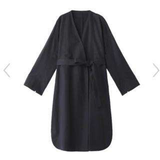 エンフォルド(ENFOLD)の美品 ENFOLD ペーパーリネン ノーカラー コート ワンピース(スプリングコート)