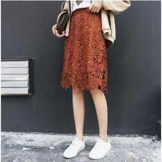フリー ダークオレンジ 色 花柄 レース スカート ハイウエスト フレア 華やか(ひざ丈スカート)