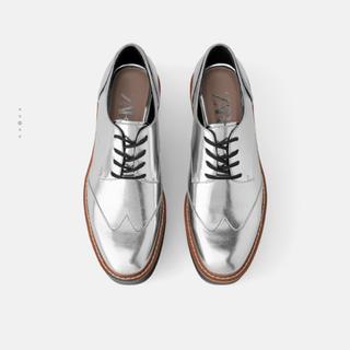 ザラ(ZARA)のZARA ザラ プラットフォームダービーシューズ シルバー(ローファー/革靴)