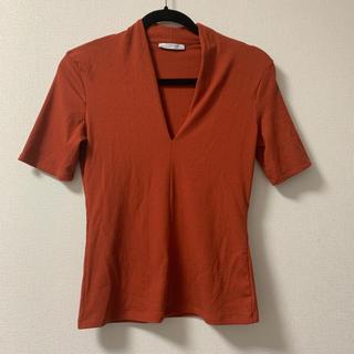 ザラ(ZARA)のザラ ZARA オレンジ Tシャツ Vネック(Tシャツ(半袖/袖なし))
