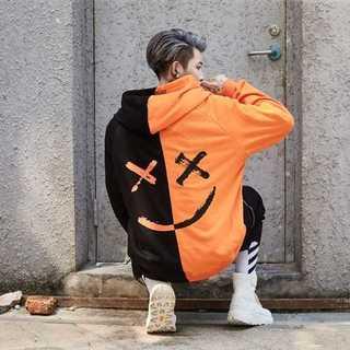 ブラック オレンジ メンズ パーカー セパレート スマイル ストリート系 黒 橙(パーカー)