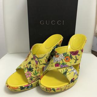 グッチ(Gucci)の美品 GUCCI サンダル 34 イエロー(サンダル)