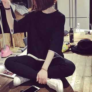 Tシャツ 重ね着風オーバーサイズ ブラック L *TTS002-BK0L(Tシャツ(半袖/袖なし))