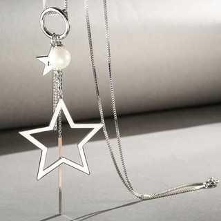 ネックレス ペンダント ロング 星 アクセサリー シンプル ホワイト ゴールド(ネックレス)