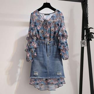 【即購入OK】大きいサイズ ワンピース&デニムスカート 2点セット(ミニワンピース)