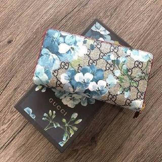 グッチ(Gucci)の新品 グッチ ブルームス ラウンド 長財布 レア ブルー 花柄 中赤(財布)