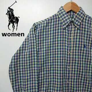 522 レディース ポロバイラルフローレン チェックシャツ ポニー刺繍 ブルー