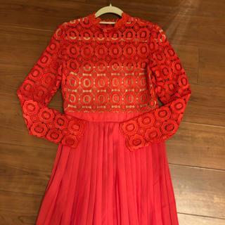 赤ロングドレス  レースワンピース(ひざ丈ワンピース)