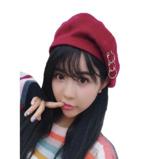★新品 レディース PUNK 帽子 ベレー帽 キャップ ハット 韓流 (レッド)(ハンチング/ベレー帽)
