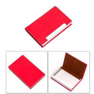 名刺入れ カード ホルダー PUレザー ステンレス マグネット シンプル レッド(名刺入れ/定期入れ)