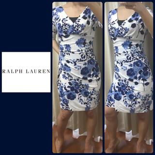 Ralph Lauren - ラルフローレン  ホワイト×ブルーフラワー  ワンピ