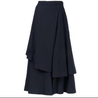 エンフォルド(ENFOLD)のUSED 美品 ENFOLD ワイドフレアスカートパンツ ダークネイビー 36(その他)