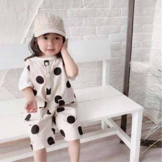 水玉 オールインワン サロペット 韓国子供服 キッズ 120 110