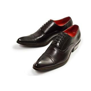 【新品】ビジネスシューズ 紳士靴 ストレートチップ 黒 24.5cm~28cm(ドレス/ビジネス)