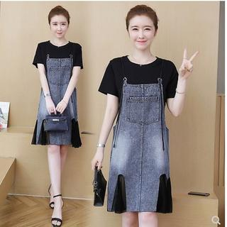 【即購入OK】大きいサイズ トップス&デニムサロペットスカート (ミニスカート)