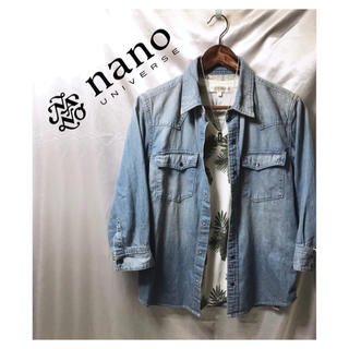 nano・universe - nano universe 七分袖デニムシャツ ブルー 青 七分袖シャツ 美品