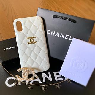 シャネル(CHANEL)のエナメルWHT CHANEL iPhoneXRスマホケース  スマホカバー XR(iPhoneケース)