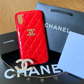 シャネル(CHANEL)のエナメルRED CHANEL iPhoneXR スマホケース  スマホカバーXR(iPhoneケース)