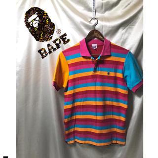 アベイシングエイプ(A BATHING APE)の美品 BAPE ABATHINGAPE  ボーダー柄ポロシャツ カラフル(ポロシャツ)